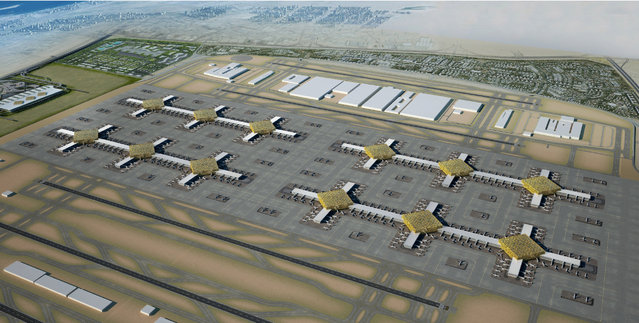 This artist's rendering made available by Dubai Airports today shows the new designs of the Al Maktoum International Airport, in Dubai, United Arab Emirates. The first phase of the expansion alone aims to build enough runway and terminal space to handle 120 million passengers a year and 100 of the double-decker Airbus A380 jets at any given time. (Photo by AP Photo/Dubai Airports)