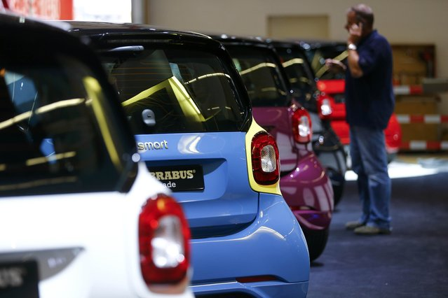 Smart cars by Brabus are seen in line during the media day at the Frankfurt Motor Show (IAA) in Frankfurt, Germany, September 14, 2015. (Photo by Kai Pfaffenbach/Reuters)