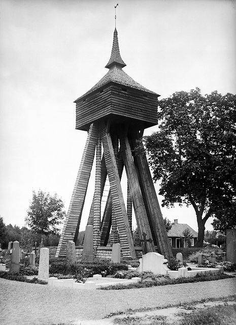 Bell tower of Moheda Church, Småland, Sweden, 1934. The wooden bell tower was built in 1665. (Photo by Einar Erici)