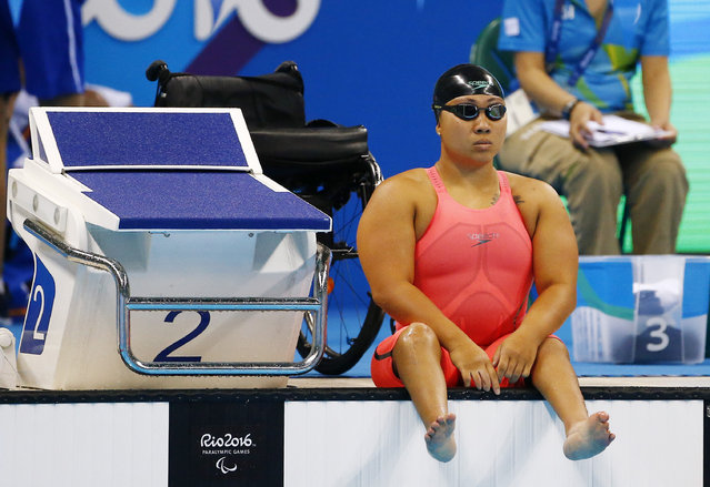 2016 Rio Paralympics, Swimming, Women's 200M Freestyle, S5 Heat 1, Olympic Aquatics Stadium, Rio de Janeiro, Brazil on September 8, 2016. Singapore's Theresa Goh before the heat. (Photo by Jason O'Brien/Reuters)
