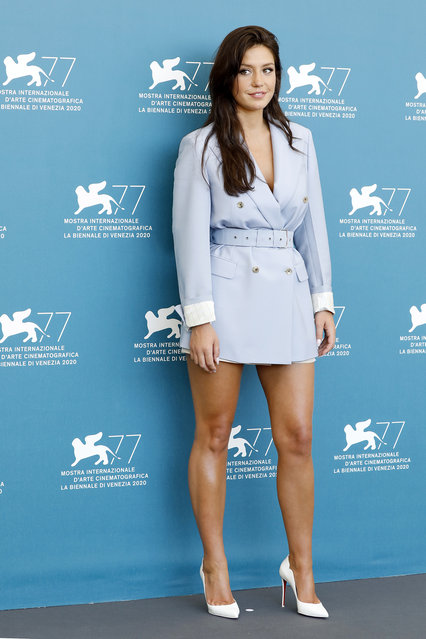 """French actress Adele Exarchopoulos attends the """"Mandibules"""" photocall during the 77th Venice Film Festival at the Palazzo del Casino in Venice, Italy. (Photo by P. Lehman/Barcroft Media via Getty Images)"""