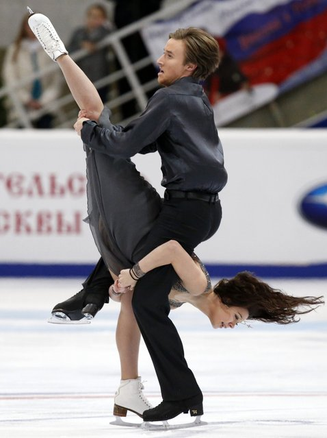 Russia's Elena Ilinykh and Ruslan Zhiganshin perform during the ice dance free dance program at the Rostelecom Cup ISU Grand Prix of Figure Skating in Moscow November 15, 2014. (Photo by Grigory Dukor/Reuters)