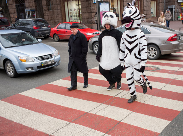 Men dressed as a zebra and a panda, who pose for pictures with tourists, walk on a pedestrian crossing, in central Kiev, Ukraine March 30, 2018. (Photo by Gleb Garanich/Reuters)