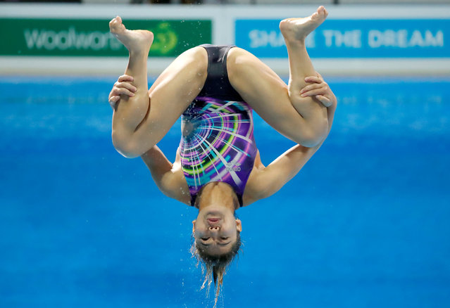 Nur Dhabitah Sabri of Malaysia competes in the Women's 1m Springboard Diving Preliminary on day nine of the Gold Coast 2018 Commonwealth Games at Optus Aquatic Centre on April 13, 2018 on the Gold Coast, Australia. (Photo by David Gray/Reuters)
