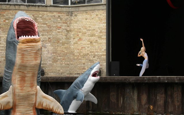 Dancers from The Royal Ballet perform beside the Regent's Canal in London on August 30, 2020, one of three performances they put on daily on weekends to experience performing in front of a live socially-distanced audience. (Photo by Isabel Infantes/AFP Photo)