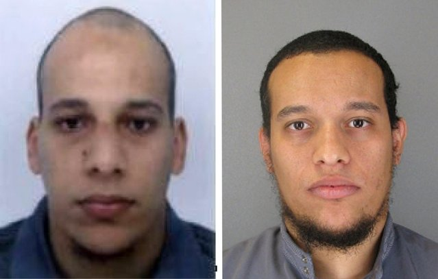 This photo provided by The Paris Police Prefecture Thursday, January 8, 2015 shows the suspects Cherif, left, and Said Kouachi in the newspaper attack along with a plea for witnesses. Police hunted Thursday for two heavily armed men, one with possible links to al-Qaida, in the methodical killing of 12 people at a satirical newspaper that caricatured the Prophet Muhammed. (Photo by AP Photo/Prefecture de Police de Paris)