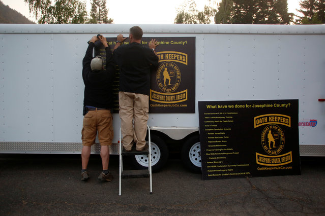 Members of the Josephine County Oath Keepers, which later disbanded and became the Liberty Watch of Josephine County, prepare for a Memorial Day parade in Grants Pass, Oregon, U.S. May 27, 2016. (Photo by Jim Urquhart/Reuters)