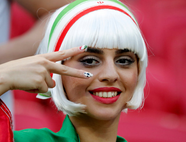 Iranian soccer fan wait for the start of the group B match between Iran and Spain at the 2018 soccer World Cup in the Kazan Arena in Kazan, Russia, Wednesday, June 20, 2018. (Photo by Diego Azubel/EPA/EFE)