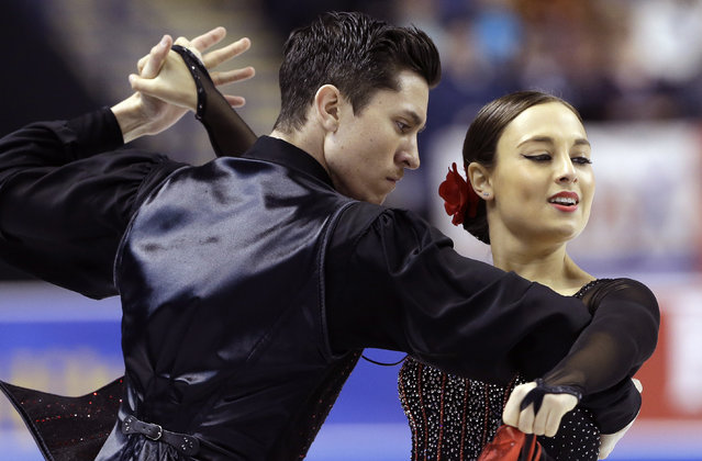 Stasia Cannuscio, right, and Colin McManus perform during their short dance program in the U.S. Figure Skating Championships in Greensboro, N.C., Friday, January 23, 2015. (Photo by Gerry Broome/AP Photo)