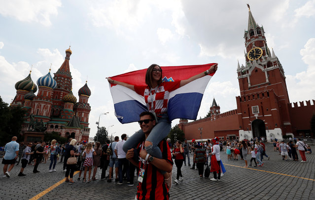 Croatia gather in Red Square in central Moscow on July 15, 2018 before the final match between Croatia and France during the Russia 2018 World Cup football tournament. (Photo by Gleb Garanich/Reuters)