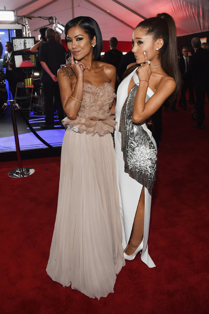 Recording Artists Jhene Aiko and Ariana Grande attend The 57th Annual GRAMMY Awards at the STAPLES Center on February 8, 2015 in Los Angeles, California. (Photo by Larry Busacca/Getty Images for NARAS)