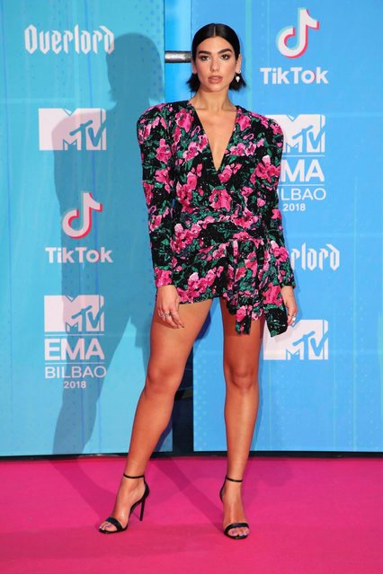 Dua Lipa attends the MTV EMAs 2018 on November 4, 2018 in Bilbao, Spain. (Photo by PA Wire)