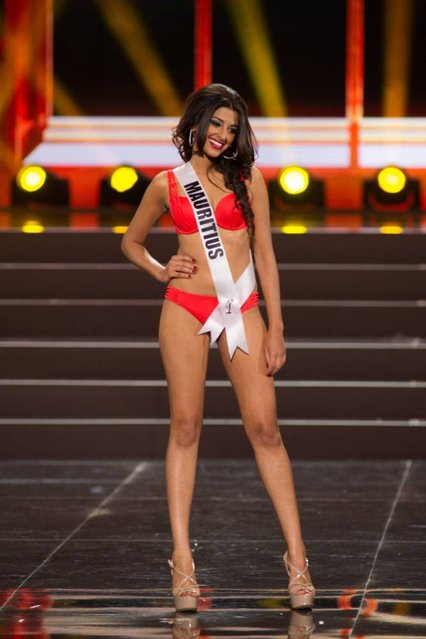 This photo provided by the Miss Universe Organization shows Diya Beeltah, Miss Mauritius 2013, competes in the swimsuit competition during the Preliminary Competition at Crocus City Hall, Moscow, on November 5, 2013. (Photo by Darren Decker/AFP Photo)