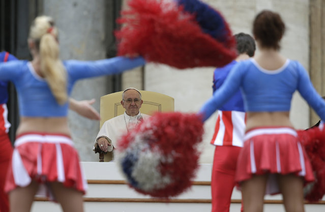Artists of the American Circus perform during the weekly audience led by Pope Francis in Saint Peter's Square at the Vatican February 3, 2016. (Photo by Max Rossi/Reuters)
