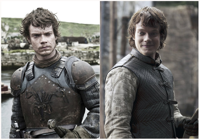 "This combination photo of images released by HBO shows Alfie Allen portraying Theon Greyjoy in ""Game of Thrones"". The final season of the popular series premieres on April 14. (Photo by HBO via AP Photo)"