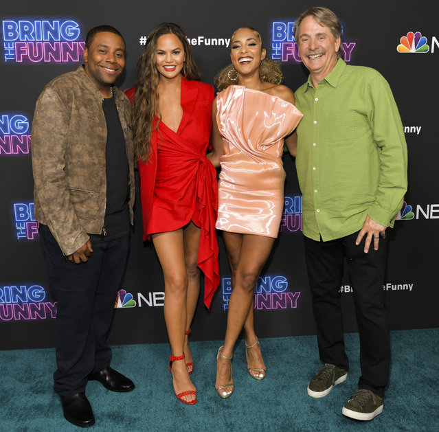 """(L-R) Kenan Thompson, Chrissy Teigen, Amanda Seales, and Jeff Foxworthy attend the premiere of NBC's """"Bring The Funny"""" at Rockwell Table & Stage on June 26, 2019 in Los Angeles, California. (Photo by Rodin Eckenroth/FilmMagic)"""