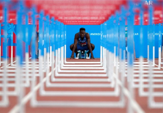 Italy's Hassane Fofana is seen ahead of the men's 110m hurdles race at the 2019 European Games at Dinamo Stadium in Minsk, Belarus on June 28, 2019. (Photo by Vasily Fedosenko/Reuters)