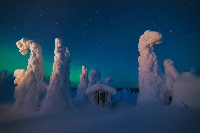 An eerie scene in Lapland, where snow-covered trees look like clouds dropped on the landscape. (Photo by Pierre Destribats/2016 National Geographic Travel Photographer of the Year Contest)