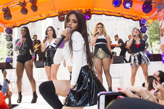 "Fifth Harmony members, from left, Normani Kordei, Lauren Jauregui, Camila Cabello, Dinah Jane Hansen and Ally Brooke perform on NBC's ""Today"" show during the Toyota Summer Concert Series on Friday, July 10, 2015, in New York. (Photo by Charles Sykes/Invision/AP Photo)"