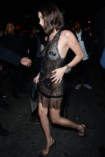 Bella Hadid are seen attending the Rei Kawakubo/Comme des Garcons: Art Of The In-Between' Costume Institute Gala – After Party on May 02, 2017 in New York City. (Photo by Rex Features/Shutterstock)