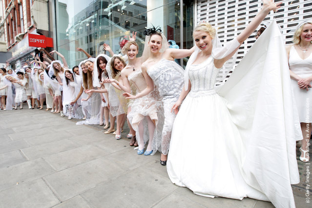 Entertainment One is attempting to set the Guinness World Record for the longest chain of brides in one location at HMV, Oxford Street in London