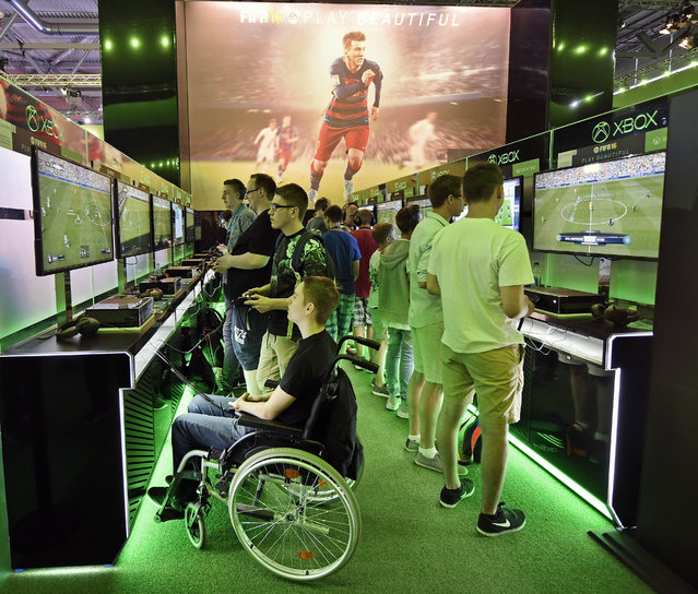 Visitors play the latest video games at the gamescom  computer game fair  in Cologne, Germany, Wednesday, August 5, 2015. (Photo by Martin Meissner/AP Photo)