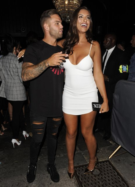 Dom Lever and Jessica Shears hit Sugar Hut for UK Love Island reunion in Essex, England on July 28, 2017. (Photo by Ralph Petts/Flynet/Splash News and Pictures)