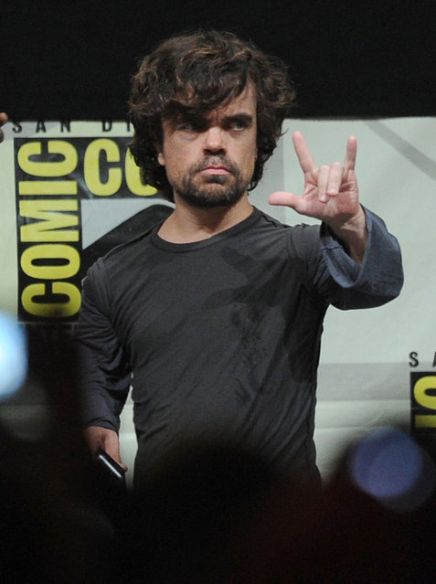 "Peter Dinklage is a giant nerd, mostly because of his role as Tyrion Lannister in HBO's Game of Thrones. However, he also played Bolivar Trask in 2014's X-Men: Days of Future Past. Photo: Actor Peter Dinklage speaks onstage during the ""Game Of Thrones"" panel during Comic-Con International 2013 at San Diego Convention Center on July 19, 2013 in San Diego, California. (Photo by Kevin Winter/Getty Images)"