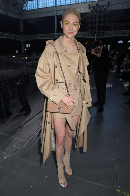 """""""Euphoria"""" star Hunter Schafer attends the Burberry Autumn/Winter 2020 show during London Fashion Week at Kensington Olympia on February 17, 2020 in London, England. (Photo by David M. Benett/Dave Benett/Getty Images for Burberry)"""