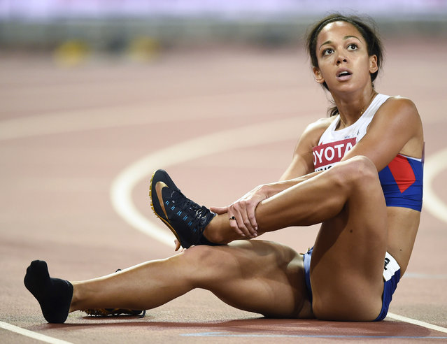 Katarina Johnson-Thompson of Britain looks at the scoreboard after her heat of the 200 metres event of the women's heptathlon at the 15th IAAF World Championships at the National Stadium in Beijing, China August 22, 2015. (Photo by Dylan Martinez/Reuters)