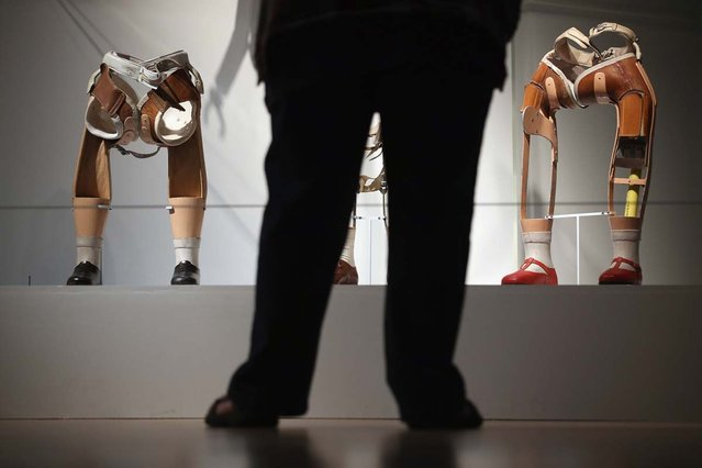 "Prosthetic legs are exhibited at the Wellcome Trust's new exhibition ""Superhuman"" in London, England. The exhibit makes up part of the Wellcome Collection's new summer exhibition, ""Superhuman"", which focuses on the many ways mankind have sought to improve, adapt or enhance their body's performance, and opens to the public from July 19 to October 16, 2012. (Photo by Dan Kitwood)"