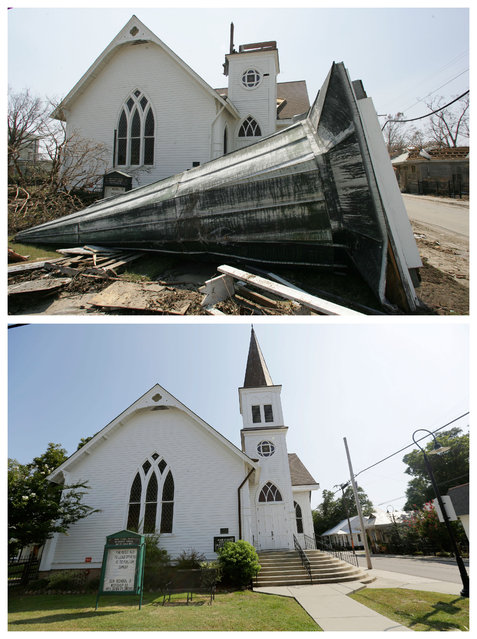 This combination of Sept. 2, 2005 and Friday, August 14, 2015 photos shows the steeple from the Main Street Methodist Church blown down during Hurricane Katrina in Bay St. Louis, Miss., and the restored church a decade later. (Photo by M. Spencer Green/Gerald Herbert/AP Photo)
