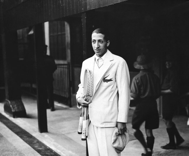 """French Tennis player Rene Lacoste, one of France's """"Four Musketeers"""" who won the Davis Cup in 1932, at Wimbledon. He is wearing his embroidered crocodile motif. (Photo by Topical Press Agency)"""
