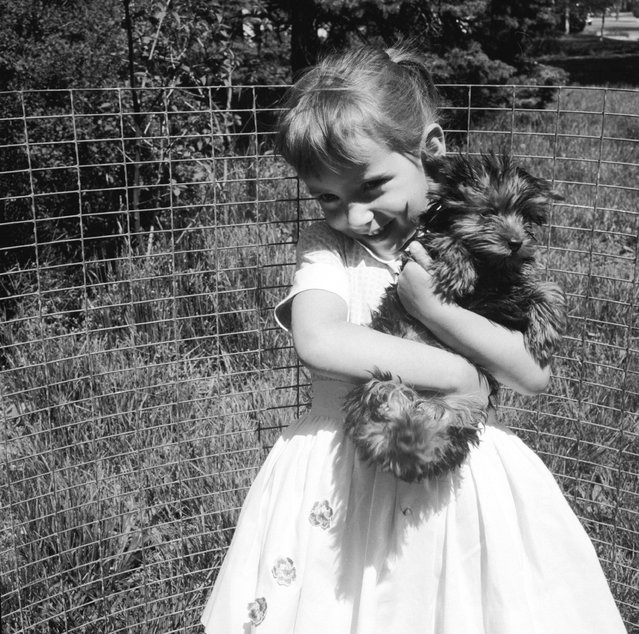 A young girl holding a long haired terrier, circa 1956. (Photo by Three Lions)