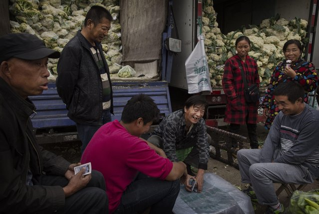 Chinese vegetable vendors play cards at a local market on September 26, 2014 in Beijing, China. (Photo by Kevin Frayer/Getty Images)