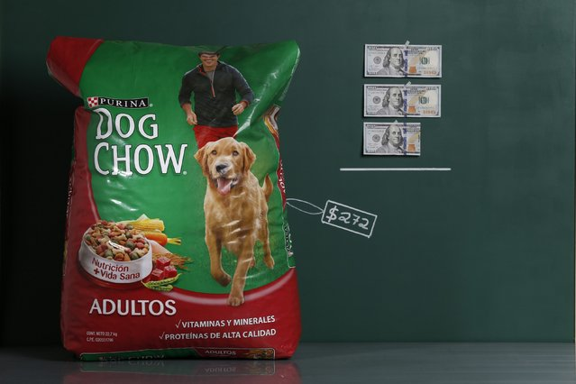 A 50 lb. (22.7 kg) bag of Purina Dog Chow as photographed in a studio with an illustrative price tag of $272 (US dollars), equivalent to the Bs. 1,716 (bolivars) that it costs on average to purchase in Caracas at the official exchange rate of 6.3 bolivars per dollar, in Caracas September 29, 2014. (Photo by Carlos Garcia Rawlins/Reuters)