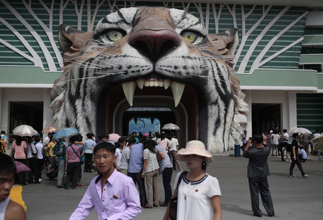 North Koreans wait at the gate of the newly opened Pyongyang Central Zoo in Pyongyang, North Korea, Tuesday, August 23, 2016. North Korean leader Kim Jong Un's latest gift to the lucky residents of Pyongyang, the renovated central zoo, is pulling in thousands of visitors a day with a slew of attractions ranging from such typical zoo fare as elephants, giraffes, penguins and monkeys to a high-tech natural history museum. (Photo by Dita Alangkara/AP Photo)