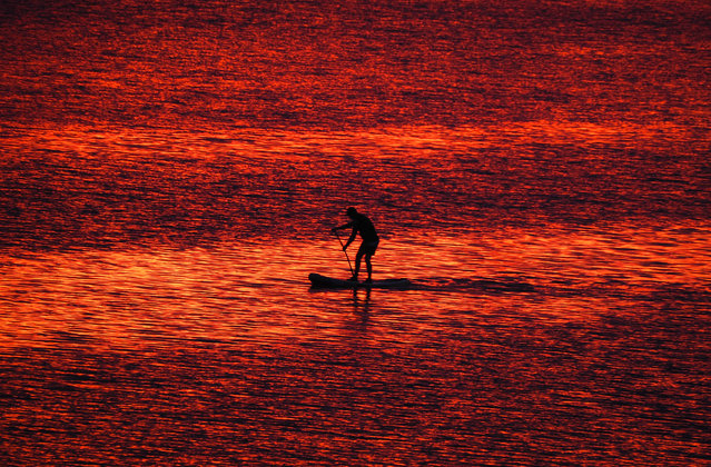 A man steers his stand-up paddle board at sunset on the Velikaya River in Pskov, 300km (187 miles) South-West from St.Petersburg, Russia, Monday, July 6, 2020. (Photo by Dmitri Lovetsky/AP Photo)