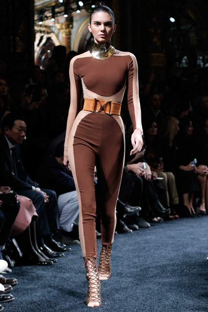 Kendall Jenner wears a creation for Balmain as part of the Spring-Summer 2016 ready-to-wear fashion collection presented during the Paris Fashion Week, in Paris, Thursday, October 1, 2015. (Photo by Thibault Camus/AP Photo)
