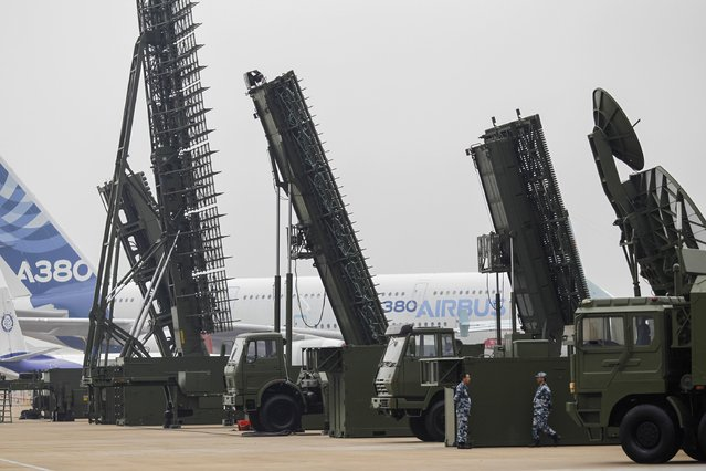 Chinese People's Liberation Army Air Force's anti-aircraft and ground-to-air missile systems are seen on display ahead of the 10th China International Aviation and Aerospace Exhibition in Zhuhai, Guangdong province, November 10, 2014. More than 130 planes will attend the six-day air show starting on Tuesday, Xinhua News Agency reported. (Photo by Alex Lee/Reuters)