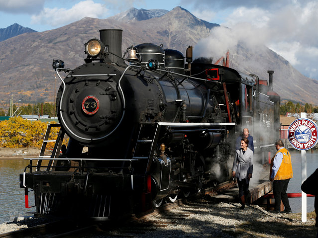 Britain's Prince William and Catherine, Duchess of Cambridge, tour a steam locomotive in Carcross, Yukon, Canada, September 28, 2016. (Photo by Chris Wattie/Reuters)