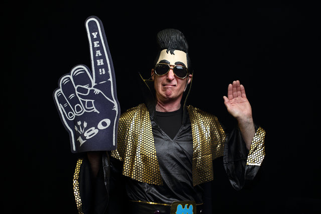 Darts fan Nigel Panton in fancy dress ahead Day Eight of the William Hill PDC World Darts Championships at Alexandra Palace on December 28, 2014 in London, England. (Photo by Jordan Mansfield/Getty Images)