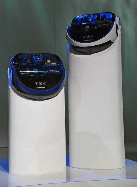 Samsung CycloneForce sensor bagless cylinder vacuum cleaners are displayed at a press event for Samsung at the Mandalay Bay Convention Center for the 2015 International CES on January 5, 2015 in Las Vegas, Nevada. (Photo by Ethan Miller/Getty Images)