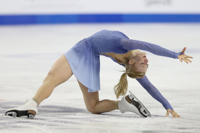 Amber Glenn skates in the Ladies Free Skate during the U.S. Figure Skating Championships at Orleans Arena on January 15, 2021 in Las Vegas, Nevada. (Photo by Matthew Stockman/Getty Images)