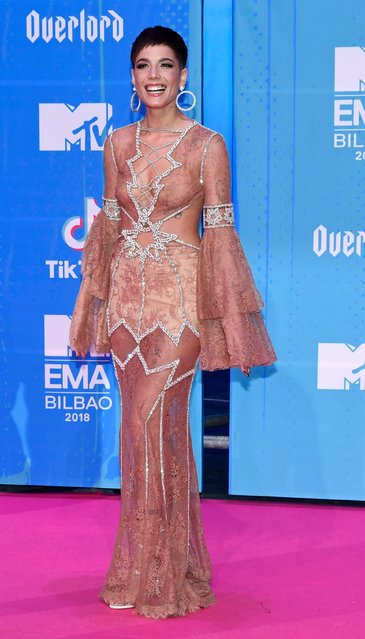 Halsey attends the MTV EMAs 2018 at Bilbao Exhibition Centre on November 4, 2018 in Bilbao, Spain. (Photo by Carlos Alvarez/Getty Images for MTV)