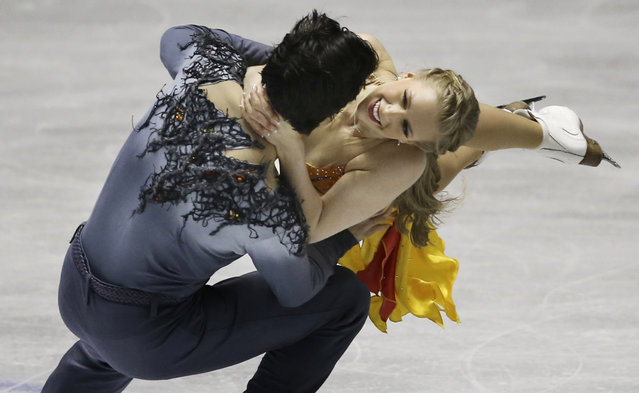 Kaitlyn Weaver and Andrew Poje of Canada perform during the Ice Dance Free Dance at the World Team Trophy Figure Skating Championships in Tokyo, Friday, April 17, 2015. (Photo by Koji Sasahara/AP Photo)