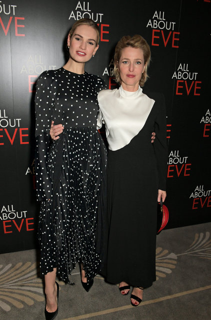 """Lily James and Gillian Anderson attend the press night after party for """"All About Eve"""" at The Waldorf Hilton on February 12, 2019 in London, England. (Photo by David M. Benett/Dave Benett/Getty Images)"""