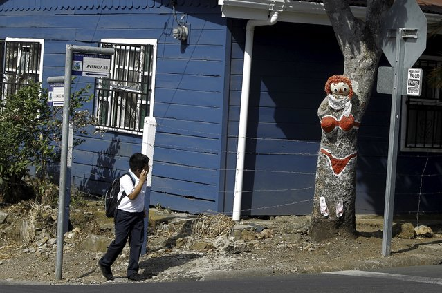 """A boy looks at a mango tree painted by resident Gonzalo Sanchez and named """"The Woman in Red Bikini"""", to replicate the figure of a woman wearing a bikini, at the corner of a street in the neighborhood of Escazu in San Jose, Costa Rica, March 1, 2016. (Photo by Juan Carlos Ulate/Reuters)"""