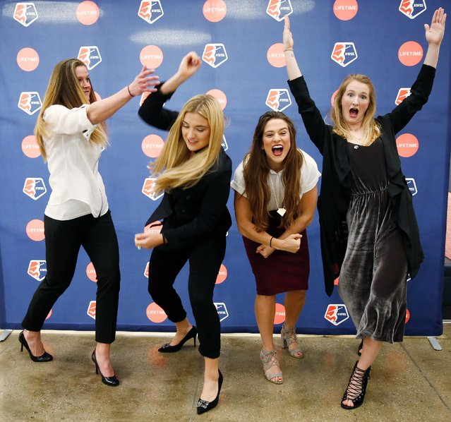 (L-R) Goalkeeper for the Chicago Red Stars Alyssa Naeher, midfielder for the Washington Spirit Kristie Mewis, forward for the Chicago Red Stars Stephanie McCaffrey, and midfielder for the NC Courage Sam Mewis attend the Lifetime National Women's Soccer League press conference on February 2, 2017 in New York City. (Photo by Thos Robinson/Getty Images for Lifetime)