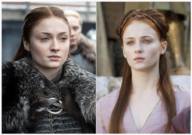 "This combination photo of images released by HBO shows Sophie Turner portraying Sansa Stark in ""Game of Thrones"". The final season of the popular series premieres on April 14. (Photo by HBO via AP Photo)"